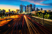 Melbourne train staation with Melbourne city background