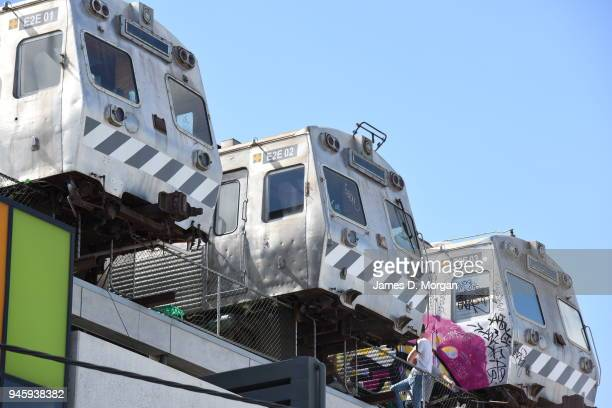 Melbourne trams containing a burger cafe high above the streets suspended on a building on September 22 2015 in Melbourne Australia Easeys cafe is a...