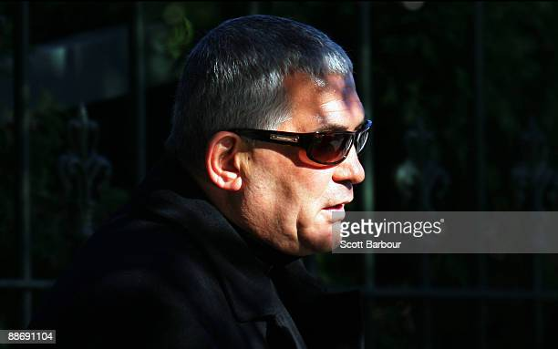 Melbourne underworld figure Mick Gatto leaves after attending the funeral of underworld figure Desmond 'Tuppence' Moran at the Roselyn Court...