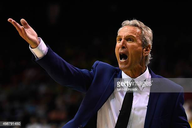Melbourne United coach Dean Demopoulos yells out to his players during the round eight NBL match between the Townsville Crocodiles and Melbourne...