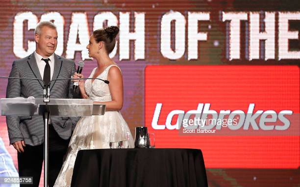 Melbourne United coach Dean Vickerman accepts the Coach of the Year award on stage at the 2018 NBL MVP Awards Night at Crown Palladium on February 27...