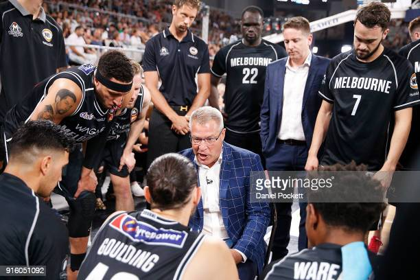 Melbourne United head coach Dean Vickerman addresses his team during the round 18 NBL match between Melbourne United and the New Zealand Breakers at...