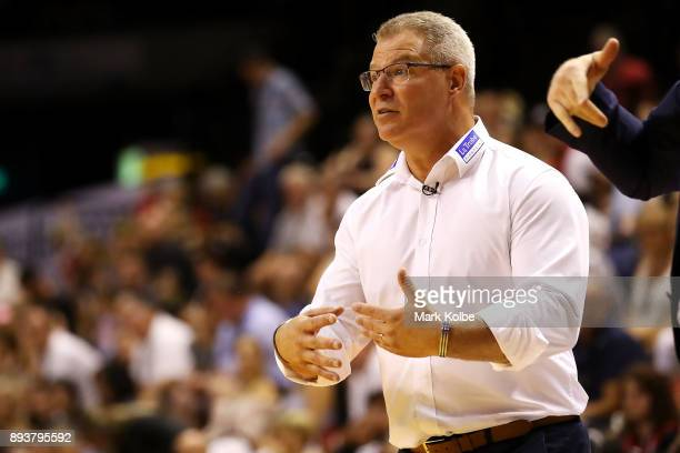 Melbourne United head coach Dean Vickerman gives instructions during the round 10 NBL match between the Illawarra Hawks and the Melbourne United at...