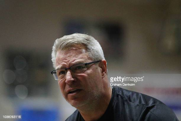 Melbourne United Head Coach Dean Vickerman looks on during the 2018 NBL Blitz match between Melbourne United and the Illawara Hawks at Ballarat...