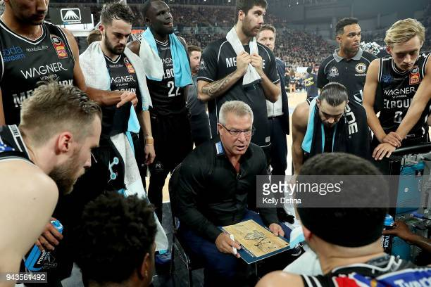 Melbourne United head coach Dean Vickerman speaks to his players during game five of the NBL Grand Final series between Melbourne United and the...
