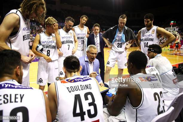Melbourne United head coach Dean Vickerman speaks to his team during the round 10 NBL match between the Illawarra Hawks and the Melbourne United at...