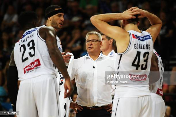 Melbourne United head coach Dean Vickerman talks to his players during game two of the NBL semi final series between Melbourne United and the New...