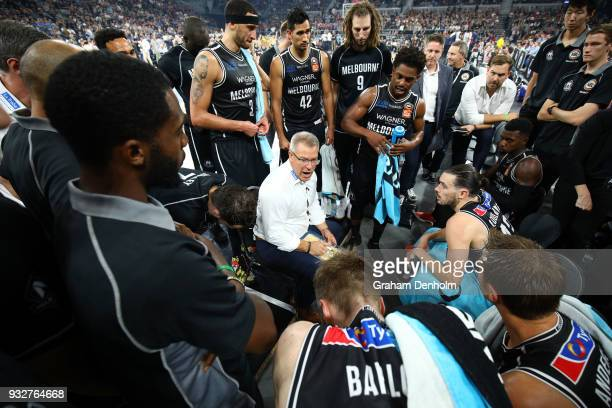 Melbourne United head coach Dean Vickerman talks to his players during game one of the NBL Grand Final series between Melbourne United and the...