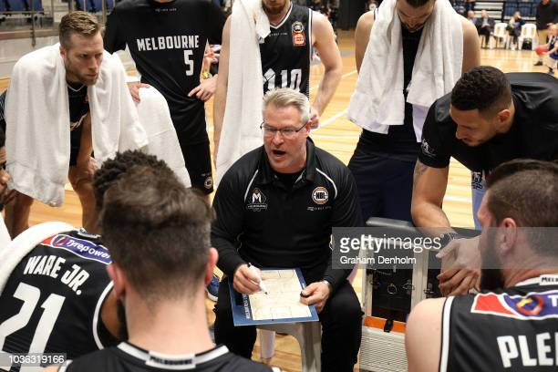 Melbourne United Head Coach Dean Vickerman talks to his players during the NBL Blitz preseason match between Melbourne United and the Adelaide 36ers...