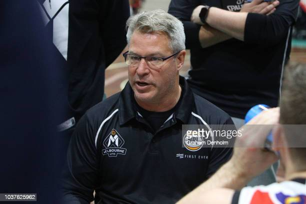 Melbourne United Head Coach Dean Vickerman talks to his players during the 2018 NBL Blitz match between the Brisbane Bullets and Melbourne United at...