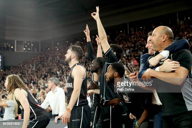 Melbourne United players looks on in anticipation of the final buzzer during game five of the NBL Grand Final series between Melbourne United and the...