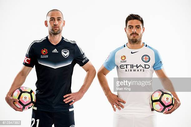 Melbourne Victory captain Carl Valeri and Melbourne City captain Bruno Fornaroli pose during the 2016/17 ALeague Season Launch at ANZ Stadium on...