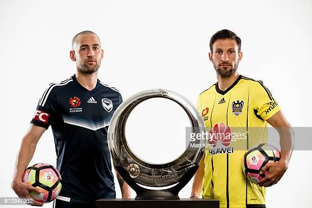 Melbourne Victory captain Carl Valeri and Wellington Phoenix captain Andrew Durante pose during the 2016/17 ALeague Season Launch at ANZ Stadium on...