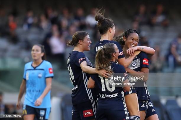 Melbourne Victory celebrate a goal by Darian Jenkins during the round 14 WLeague match between the Melbourne Victory and Sydney FC at Marvel Stadium...