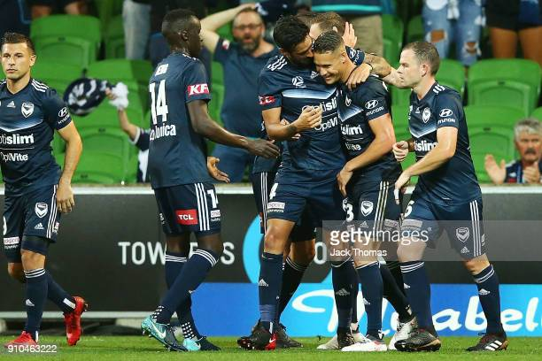 Melbourne Victory celebrate a penalty kicked goal by Bestart Berisha during the round 18 ALeague match between Melbourne Victory and Sydney FC at...