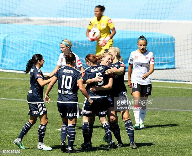 Melbourne Victory celebrate after an own goal by Jada MathyssenWhyman of the Wanderers during the round six WLeague match between Melbourne Victory...