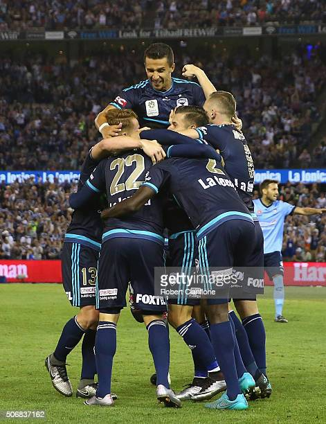Melbourne Victory celebrate after an own goal by Matt Jurman of Sydney FC during the round 16 A-League match between Melbourne Victory and Sydney FC...