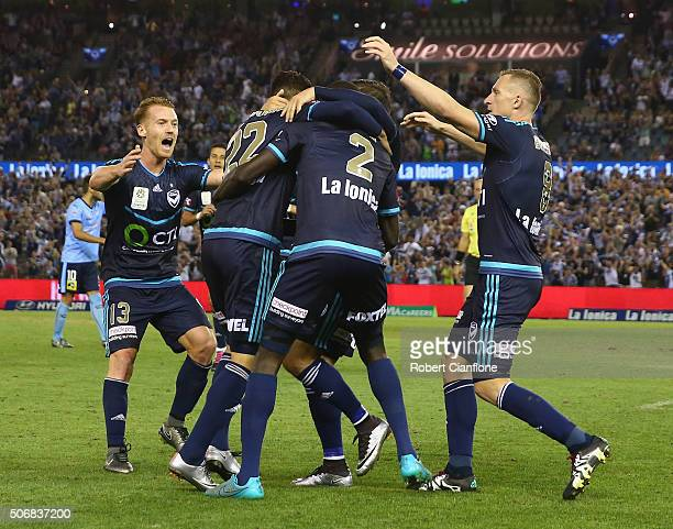 Melbourne Victory celebrate after an own goal by Matt Jurman of Sydney FC during the round 16 ALeague match between Melbourne Victory and Sydney FC...