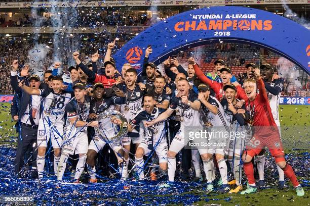 Melbourne Victory celebrate at the ALeague Grand Final Soccer Match between Newcastle Jets and Melbourne Victory on May 5 2018 at McDonald Jones...