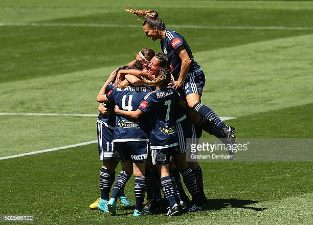Melbourne Victory celebrate the goal of Melinda Barbieri of Melbourne Victory during the round 11 WLeague match between Melbourne Victory and Sydney...