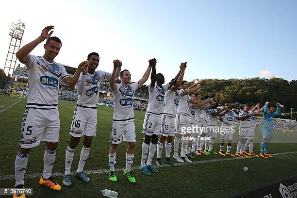 Melbourne Victory celebrate the win with fans during the round 22 ALeague match between the Central Coast Mariners and the Melbourne Victory at...