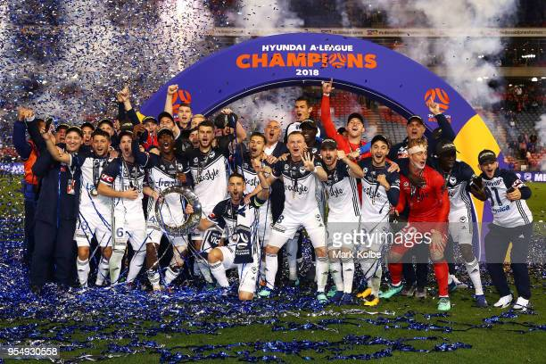 Melbourne Victory celebrate victory during the 2018 ALeague Grand Final match between the Newcastle Jets and the Melbourne Victory at McDonald Jones...