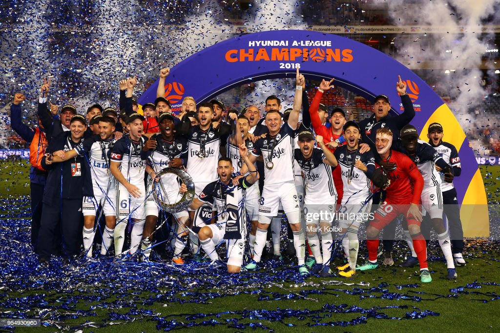 Melbourne Victory celebrate victory during the 2018 A-League Grand Final match between the Newcastle Jets and the Melbourne Victory at McDonald Jones Stadium on May 5, 2018 in Newcastle, Australia.