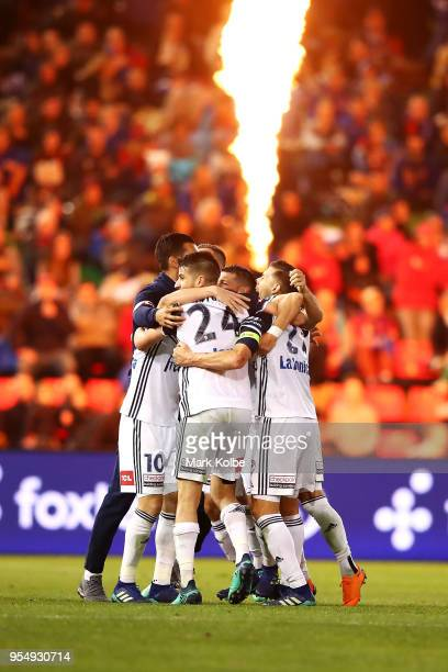 Melbourne Victory celebrate winning the 2018 ALeague Grand Final match between the Newcastle Jets and the Melbourne Victory at McDonald Jones Stadium...