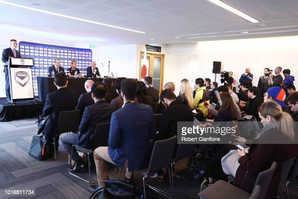 Melbourne Victory Chairman Anthony Di Pietro Keisuke Honda of the Victory and Melbourne Victory Head Coach Kevin Muscat attend a Melbourne Victory...