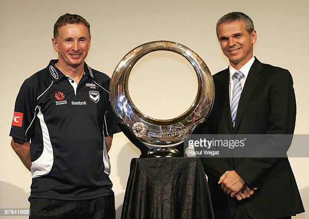 Melbourne Victory coach Ernie Merrick and Sydney FC coach Vitezslav Lavicka pose during an ALeague Grand Final press conference at the Crown...
