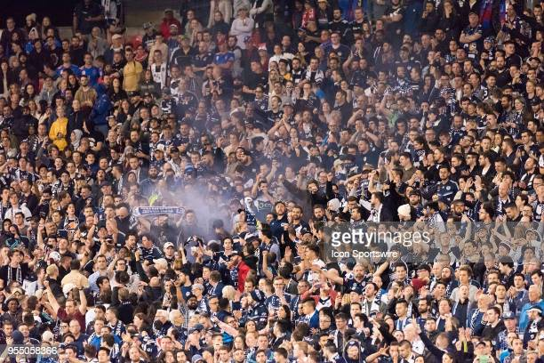 Melbourne Victory crowd at the ALeague Grand Final Soccer Match between Newcastle Jets and Melbourne Victory on May 5 2018 at McDonald Jones Stadium...