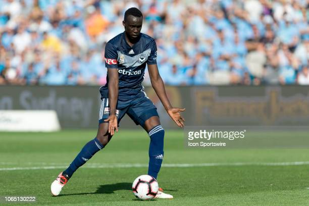 Melbourne Victory defender Thomas Deng shields the ball at the Hyundai ALeague Round 5 soccer match between Sydney FC and Melbourne Victory on...
