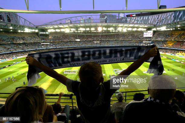 "Melbourne Victory fan stands for ""stand by me"" before the round two A-League match between Melbourne Victory and Melbourne City FC at Etihad Stadium..."