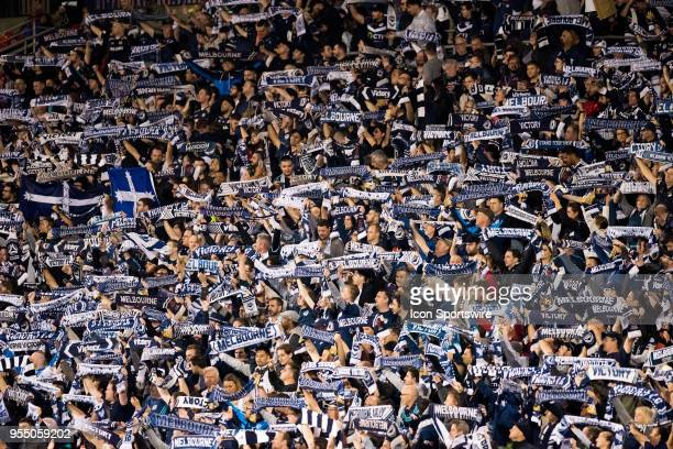 Melbourne Victory fans at the ALeague Grand Final Soccer Match between Newcastle Jets and Melbourne Victory on May 5 2018 at McDonald Jones Stadium...