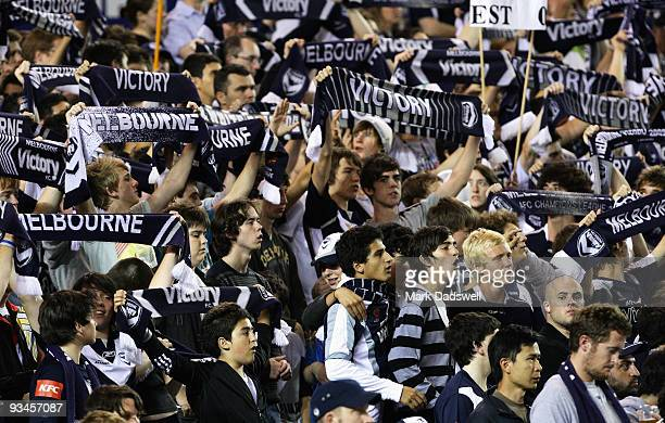 Melbourne Victory fans celebrate a goal during the round 16 ALeague match between the Melbourne Victory and Gold Coast United at Etihad Stadium on...