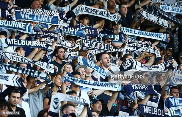Melbourne Victory fans in the crowd show their support during the round 19 ALeague match between Melbourne City FC and Melbourne Victory at AAMI Park...