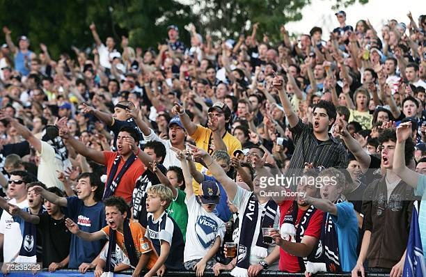 Melbourne Victory fans show their support during the round 17 Hyundai A-League match between the Melbourne Victory and the New Zealand Knights at...