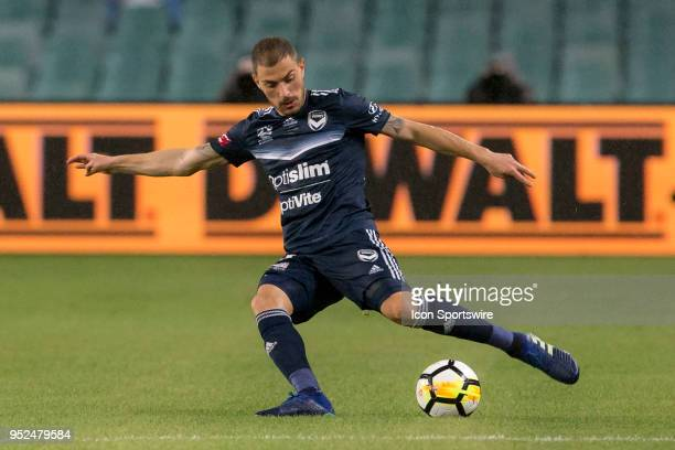 Melbourne Victory forward James Troisi switches play at the ALeague Soccer Semi Final Match between Sydney FC and Melbourne Victory on April 28 2018...