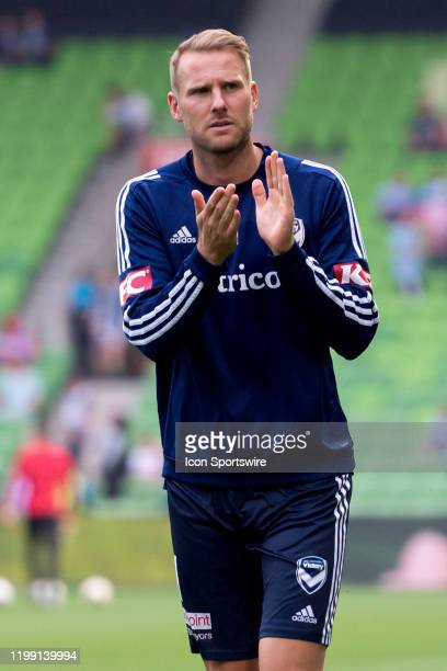 Melbourne Victory forward Nils Ola Toivonen acknowledges the crowd during warm up during the round 18 A-League soccer match between Melbourne City FC...
