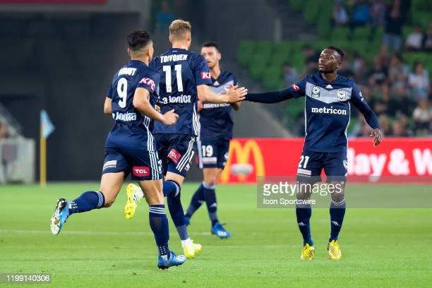 Melbourne Victory forward Nils Ola Toivonen celebrates his goal with teammates during the round 18 A-League soccer match between Melbourne City FC...