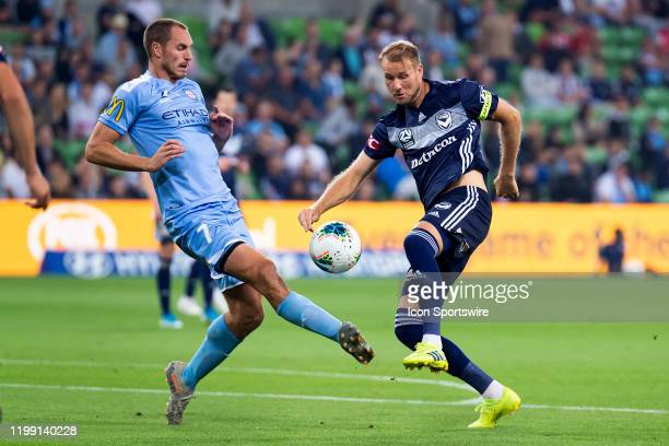 Melbourne Victory forward Nils Ola Toivonen challenges the ball during the round 18 A-League soccer match between Melbourne City FC and Melbourne...