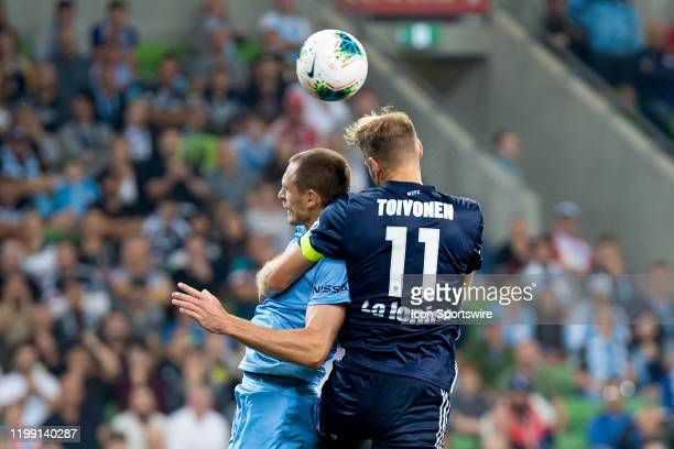 Melbourne Victory forward Nils Ola Toivonen competes for the header during the round 18 A-League soccer match between Melbourne City FC and Melbourne...
