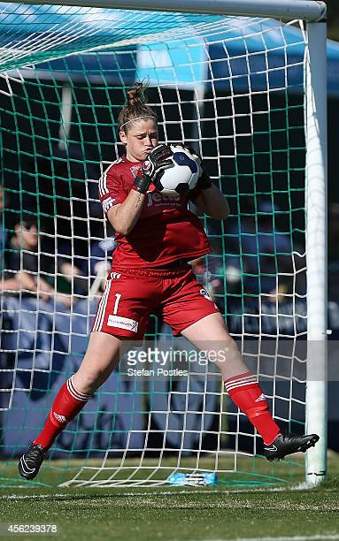 Melbourne Victory goal keeper Brianna Davey stops a shot on goal during the round three WLeague match between Canberra and Melbourne Victory at...