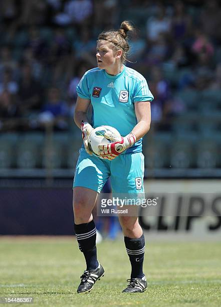 Melbourne Victory goalkeeper Brianna Davey prepares to throw the ball in during the round one WLeague match between Perth Glory and the Melbourne...