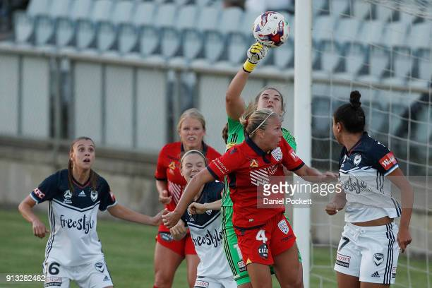 Melbourne Victory goalkeeper Casey Dumont blocks a goal attempt during the round 14 WLeague match between Adelaide United and the Melbourne Victory...