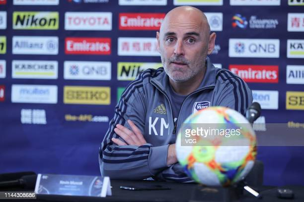 Melbourne Victory head coach Kevin Muscat attends a press conference ahead of the AFC Champions League Group F match between Melbourne Victory and...