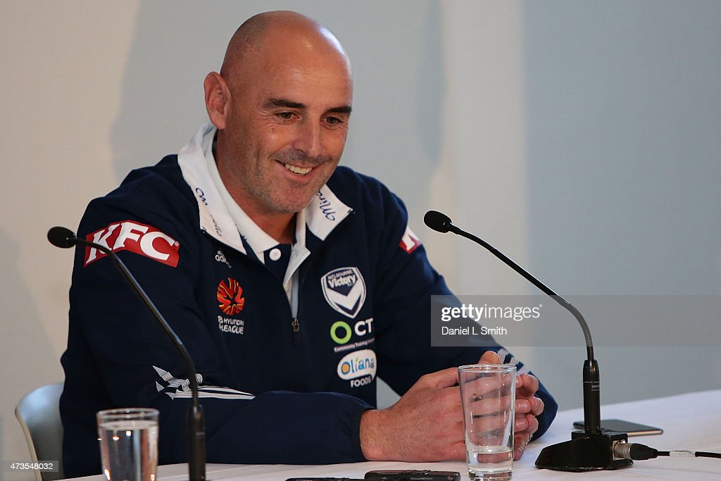 Melbourne Victory Head Coach, Kevin Muscat speaks to the media during the A-League Grand Final press conference at Federation Square on May 16, 2015 in Melbourne, Australia.