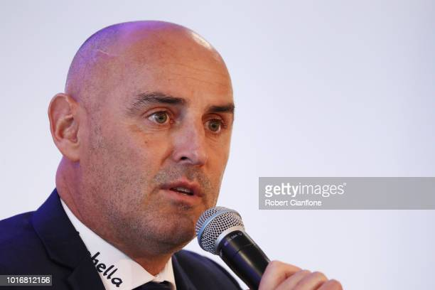 Melbourne Victory Head Coach Kevin Muscat talks to the media at a Melbourne Victory ALeague press conference at AAMI Park on August 15 2018 in...