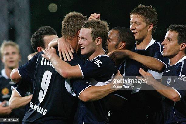 Melbourne Victory players celebrate a Daniel Allsopp goal during the round 16 A-League match between the Melbourne Victory and Perth Glory at Olympic...