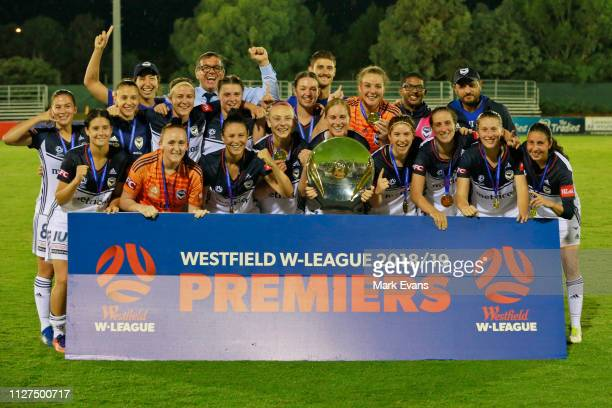 Melbourne Victory pose with the Premiers Plate after the round 12 WLeague match between Canberra United and the Melbourne Victory at McKellar Park on...
